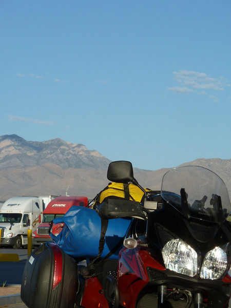 Peter's V-Strom and the Death Valley mountains.
