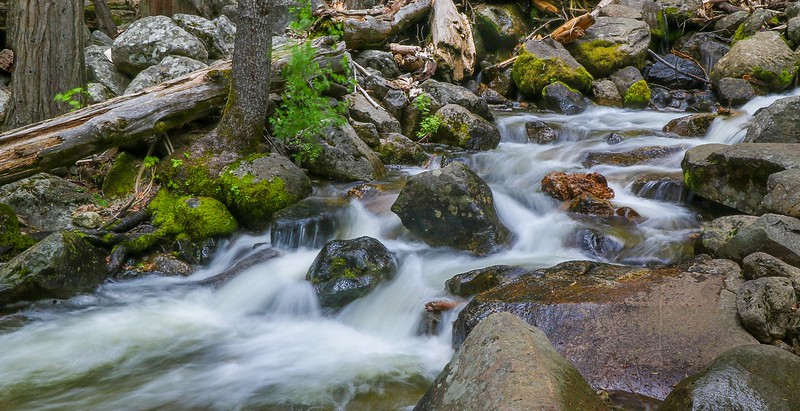 Time exposure in low light of a runoff tributary of Bridalveil Falls.