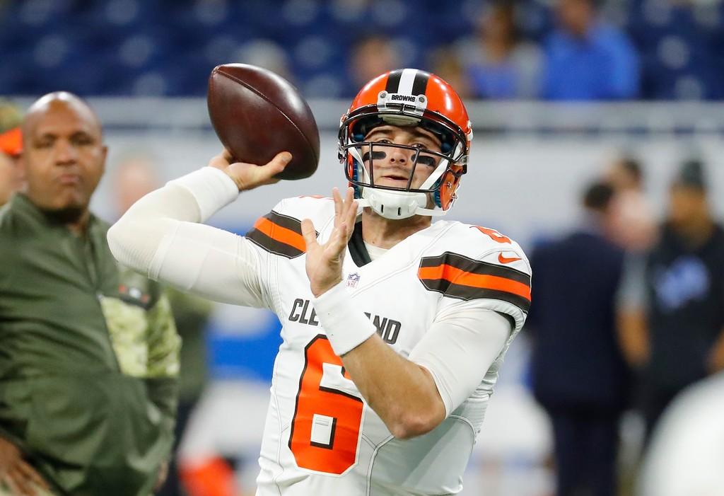 . Cleveland Browns quarterback Cody Kessler (6) throws during pregame of an NFL football game against the Detroit Lions, Sunday, Nov. 12, 2017, in Detroit. (AP Photo/Rick Osentoski)