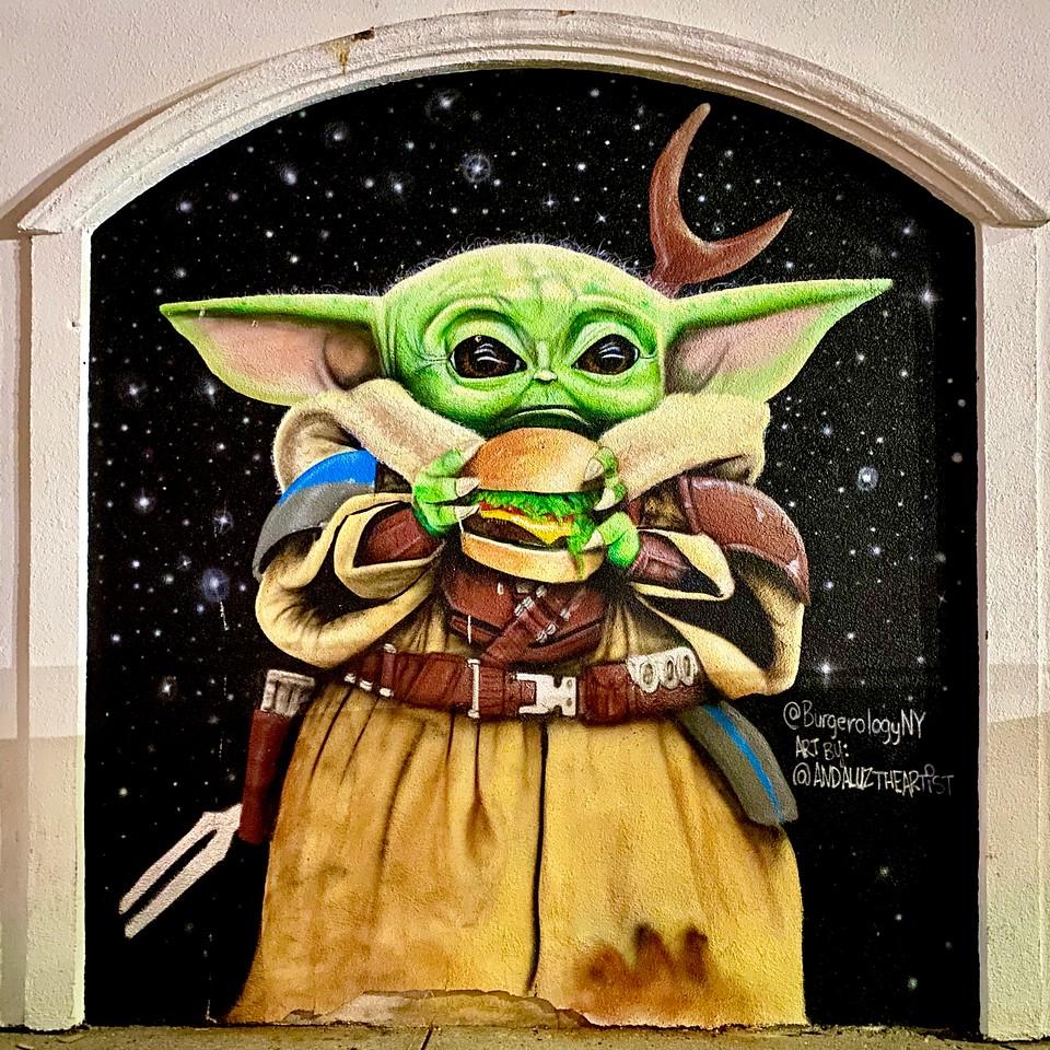 baby yoda mural in huntington new york