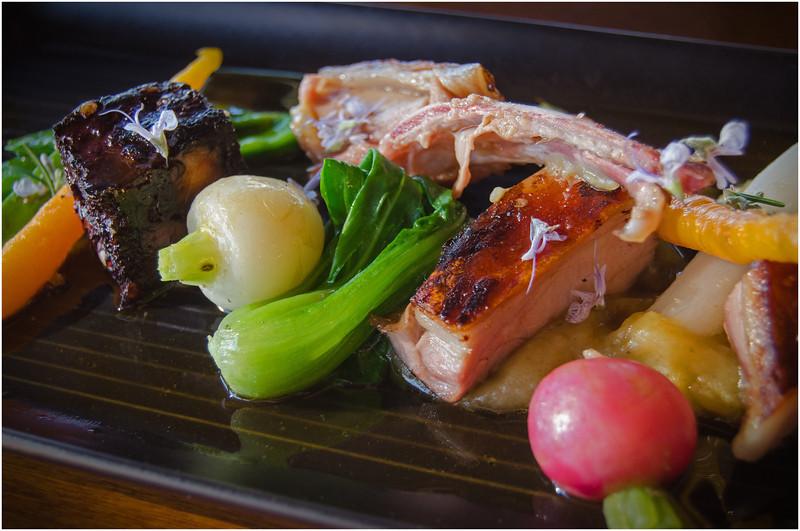 Pork and boudin noir tasting plate