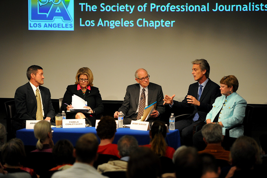 . Warren Olney, center, moderates the 3rd District Board of Supervisors debate between, from left, West Hollywood councilman John Duran, former Malibu mayor Pamela Conley Ulich, former Santa Monica councilman Bobby Shriver and former state legislator Sheila Kuehl, Thursday, March 20, 2014, at UCLA�s California NanoSystems Institute Auditorium. (Photo by Michael Owen Baker/L.A. Daily News)