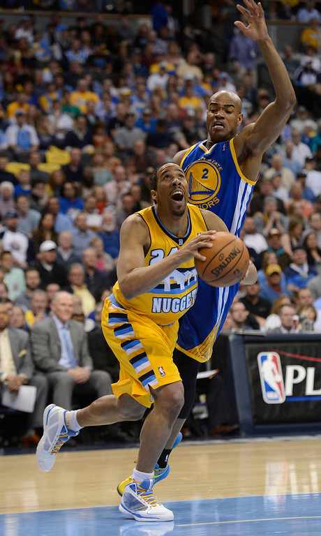 . DENVER, CO. - APRIL 20: Denver Nuggets point guard Andre Miller (24) looks to the basket against Golden State Warriors point guard Jarrett Jack (2) in the second quarter. The Denver Nuggets took on the Golden State Warriors in Game 1 of the Western Conference First Round Series at the Pepsi Center in Denver, Colo. on April 20, 2013. (Photo by John Leyba/The Denver Post)