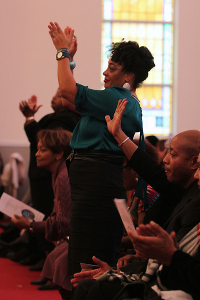 January 21, 2012 Celebration of the life of Ariane Patterson at New Bethel Ame Zion Church of Forest City, NC. Sister, Rochell praises the Lord for she knows her sister is in Heaven.