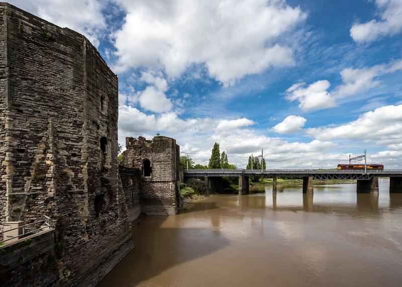 Newport Castle and railway bridge