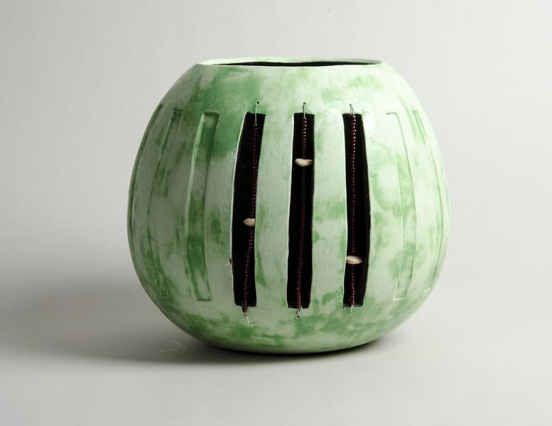 "1.Coiled vessel, white earthen ware, hand built, under glaze, beads,: h.10"", diameter 11"""