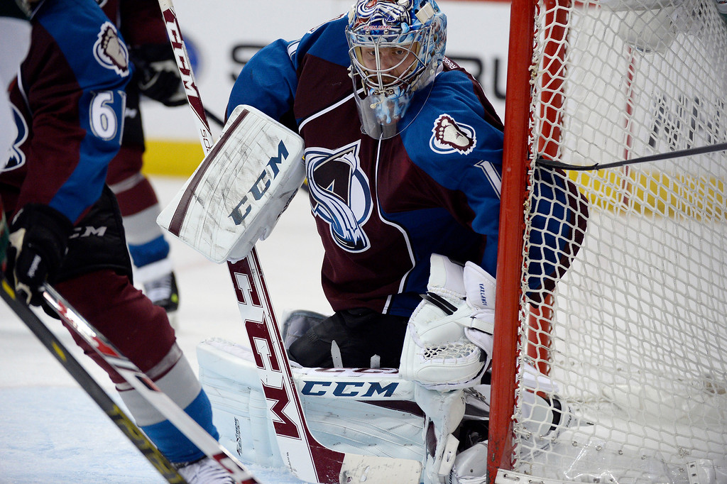 . Semyon Varlamov (1) of the Colorado Avalanche keeps an eye on the puck in his zone during the second period of action. The Colorado Avalanche hosted the Minnesota Wild in the first round of the Stanley Cup Playoffs at the Pepsi Center in Denver, Colorado on Saturday, April 19, 2014. (Photo by John Leyba/The Denver Post)