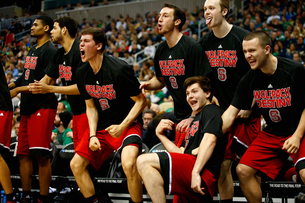 . The North Carolina State Wolfpack bench reacts late in the second half against the Villanova Wildcats during the third round of the 2015 NCAA Men\'s Basketball Tournament at Consol Energy Center on March 21, 2015 in Pittsburgh, Pennsylvania.  (Photo by Jared Wickerham/Getty Images)