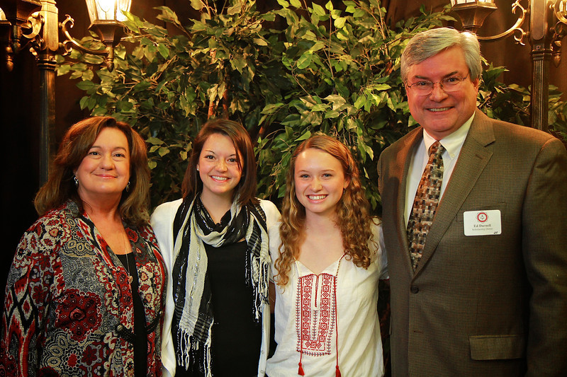 Ed and Betty Darnell, Allyson Ammoms, Erin Pitts. Scholarship Luncheon at Gardner-Webb University.