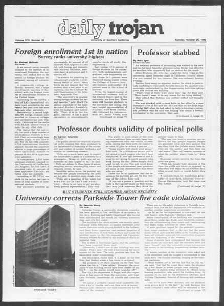 Daily Trojan, Vol. 92, No. 35, October 26, 1982
