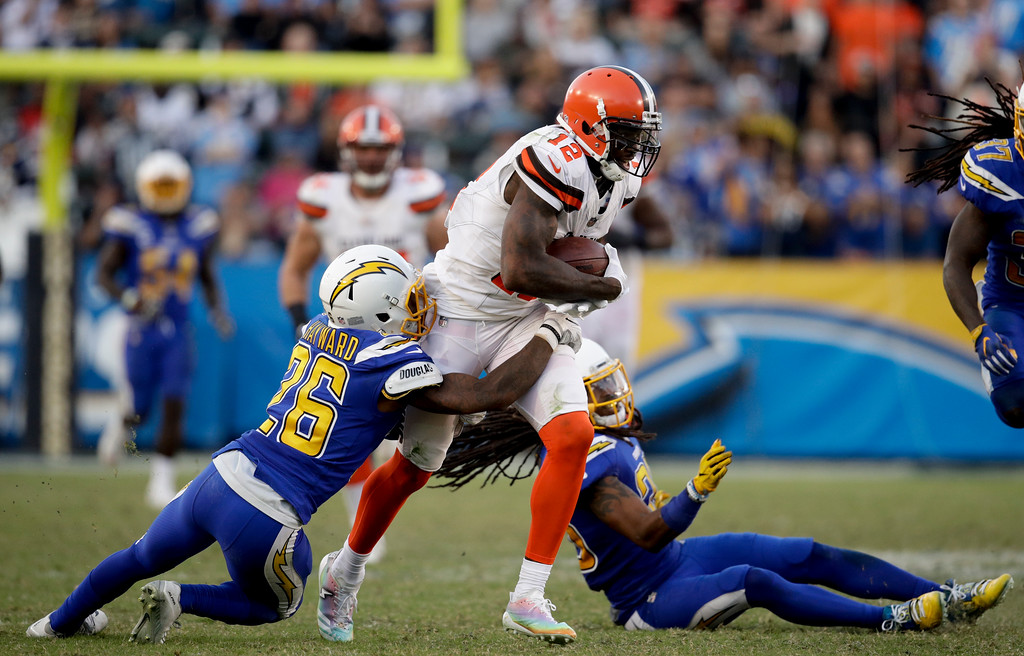 . Cleveland Browns wide receiver Josh Gordon runs against the Los Angeles Chargers during the second half of an NFL football game Sunday, Dec. 3, 2017, in Carson, Calif. (AP Photo/Jae C. Hong)
