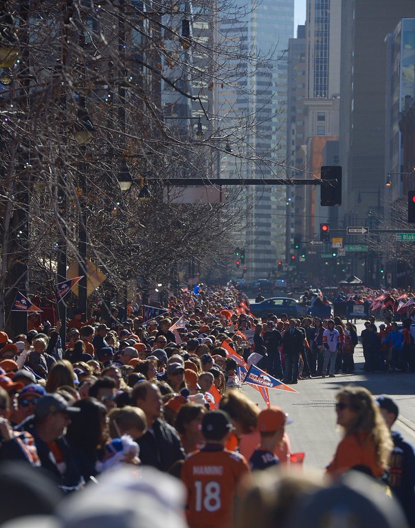 . DENVER, CO - FEBRUARY 9: Crowds at Union Station along 17th Street before the Broncos Super Bowl 50 victory parade Tuesday morning, February 9, 2016. (Cyrus McCrimmon/The Denver Post)