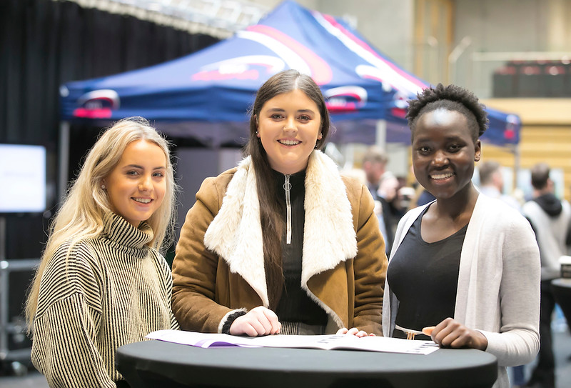 09/03/2019. Pictured at the Waterford Institute of Technology Science Careers Day.  Pictured are Ann Doheny Ballycallan, Chloe Quinn Thomastown and Pasquinna Sida from Kilkenny City. Picture: Patrick Browne