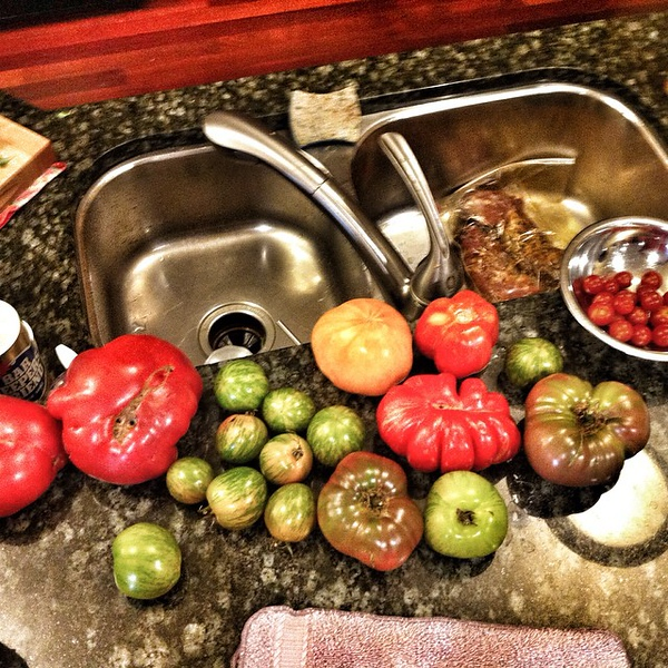 Feel free to stop by this weekend if you need a #tomato. The garden overfloweth.