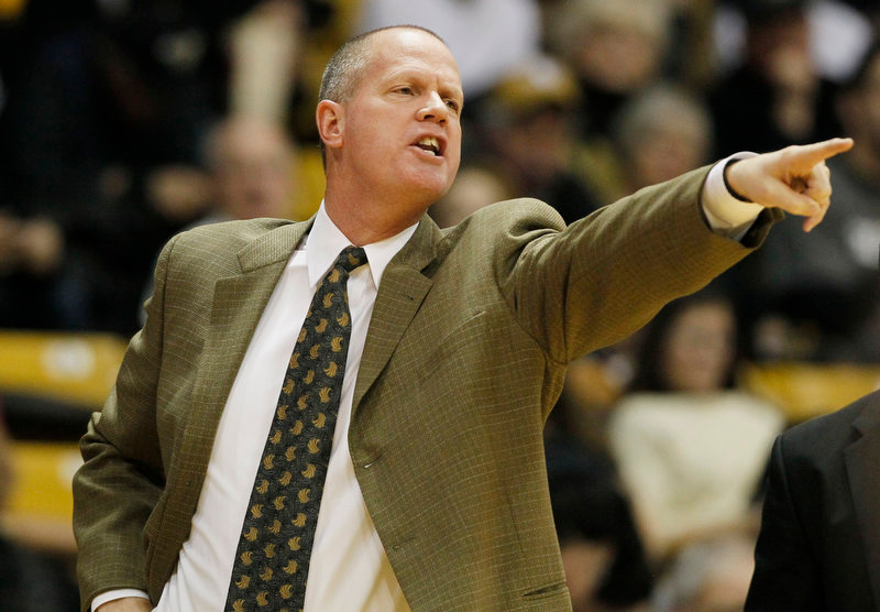 . Colorado head coach Tad Boyle directs his team against Texas Southern in the first half of an NCAA college basketball game in Boulder, Colo., on Tuesday, Nov. 27, 2012. (AP Photo/David Zalubowski)