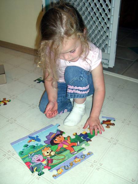 Her first 24 piece puzzle. She did it all by herself!