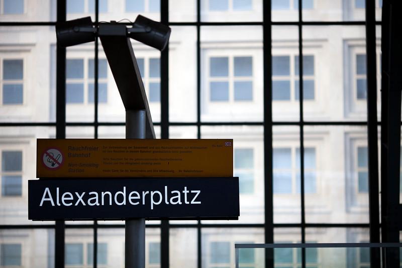 Sign of Alexanderplatz railway station, Berlin, Germany