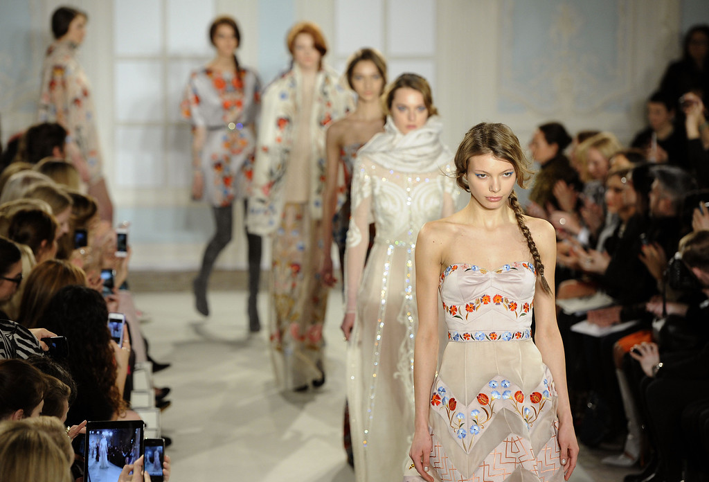 . Models walk the runway at the Temperley London show at London Fashion Week AW14 at  on February 16, 2014 in London, England. (Photo by Stuart C. Wilson/Getty Images)