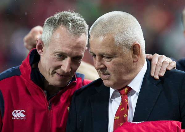 Rob Howley and Warren Gatland during game 9 of the British and Irish Lions 2017 Tour of New Zealand, the second Test match between  The All Blacks and British and Irish Lions, Westpac Stadium, Wellington, Saturday 1st July 2017 (Photo by Kevin Booth Steve Haag Sports)  Images for social media must have consent from Steve Haag