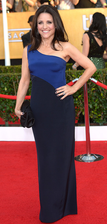. Julia Louis-Dreyfus arrives at the 20th Annual Screen Actors Guild Awards  at the Shrine Auditorium in Los Angeles, California on Saturday January 18, 2014 (Photo by Michael Owen Baker / Los Angeles Daily News)