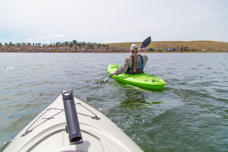 Kayaking on Castle Rock Lake in Colstrip