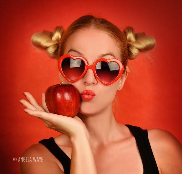 Pretty Fun Girl Holding Healthy Fruit Food
