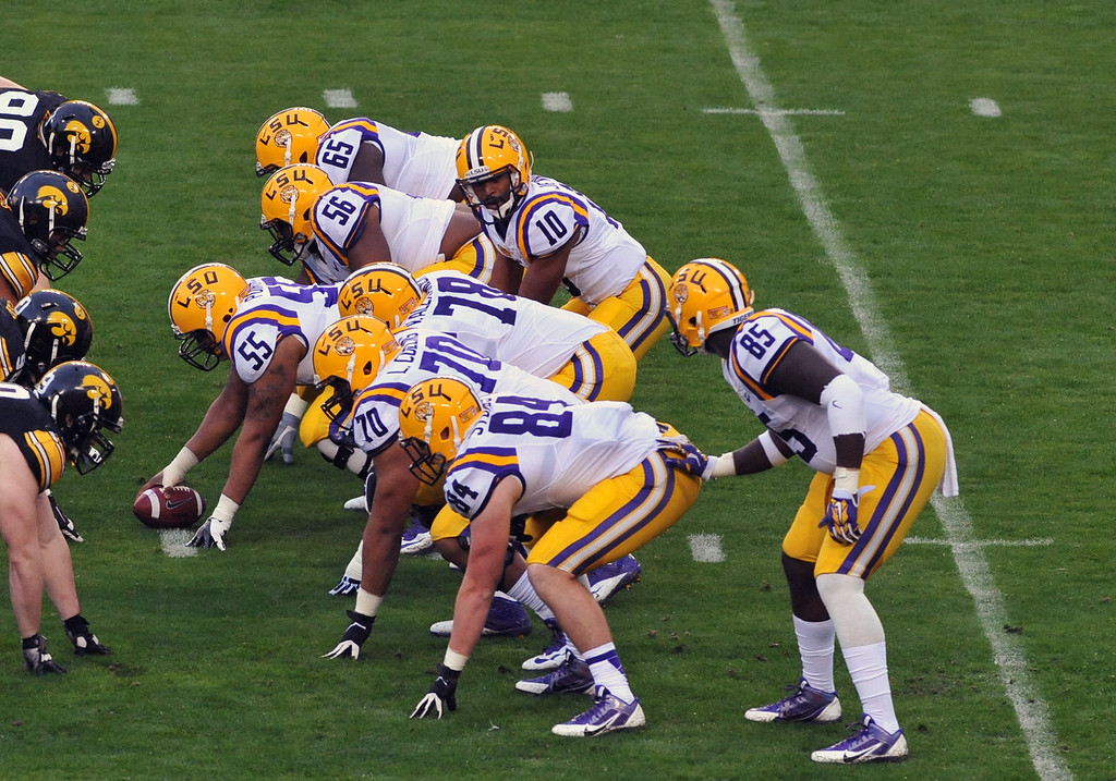 . Quarterback Anthony Jennings #10 of the LSU Tigers calls a play in the first quarter against the Iowa Hawkeyes January 1, 2014  in the Outback Bowl at Raymond James Stadium in Tampa, Florida.  (Photo by Al Messerschmidt/Getty Images)