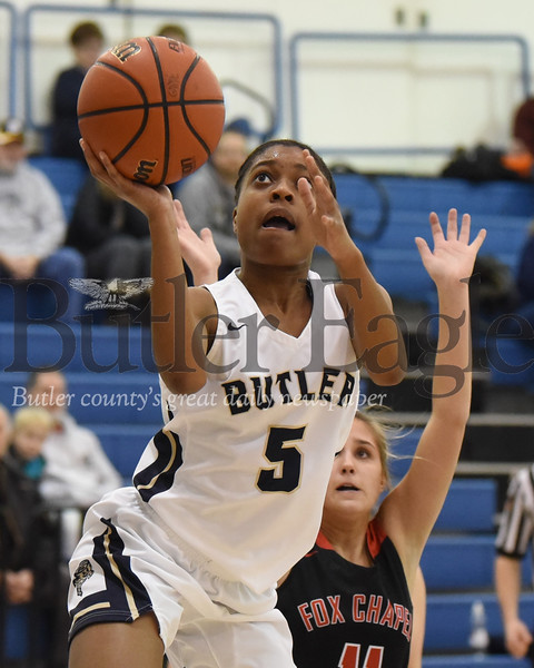 Butler's Sarayne Forbes extends for a layup against Fox Chapel Thursday night. Butler lost to the Foxes in the closing minutes 56-51.Seb Foltz/Butler Eagle