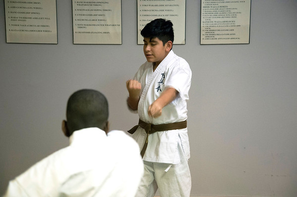 01/07/20 Wesley Bunnell | StaffrrStudents practice punches at New Britain Judo & Dynamic Arts on West Main St in New Britain.