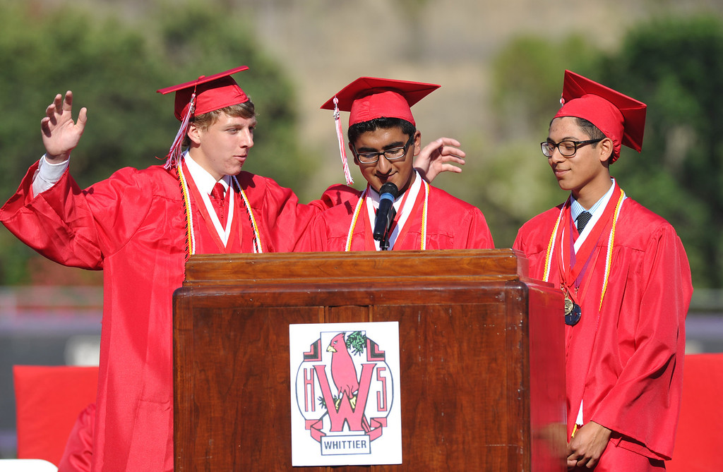 . Valedictorians, from left, Jeremiah Gotts, Ganeev Singh and Joseph Rosales speak during the 112th Whittier High School Commencement at Whittier College in Whittier on Wednesday June 12, 2013. (SGVN/Staff Photo by Keith Durflinger)