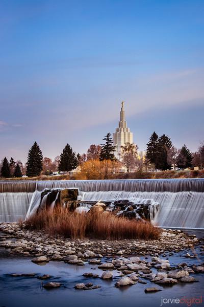 Idaho Falls Temple waterfalls (Vertical)