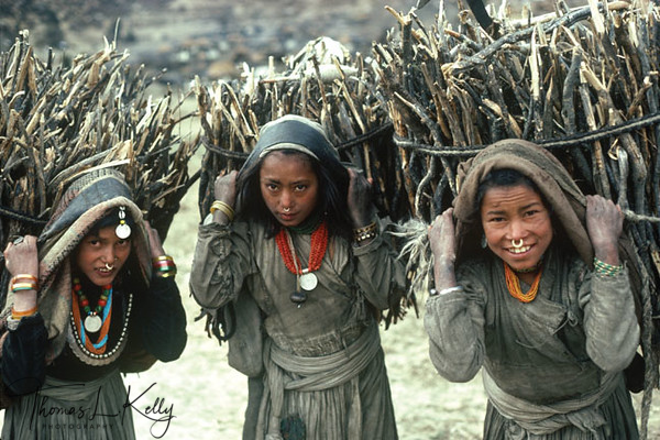 Chhetri girls houling bundle of wood from the nearby jungle, to sell them to richer community and landlords. A bundle of wood can fetch them NRS 200, which is equivalent to US$ 3.Simikot, Humla, Nepal.