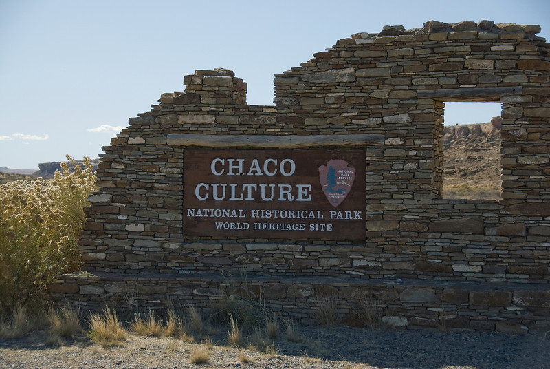 Entrance sign to Chaco Culture National Historic Park in New Mexico