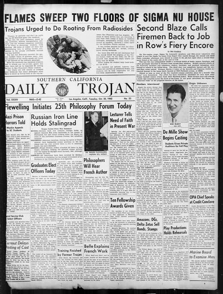Daily Trojan, Vol. 34, No. 23, October 20, 1942