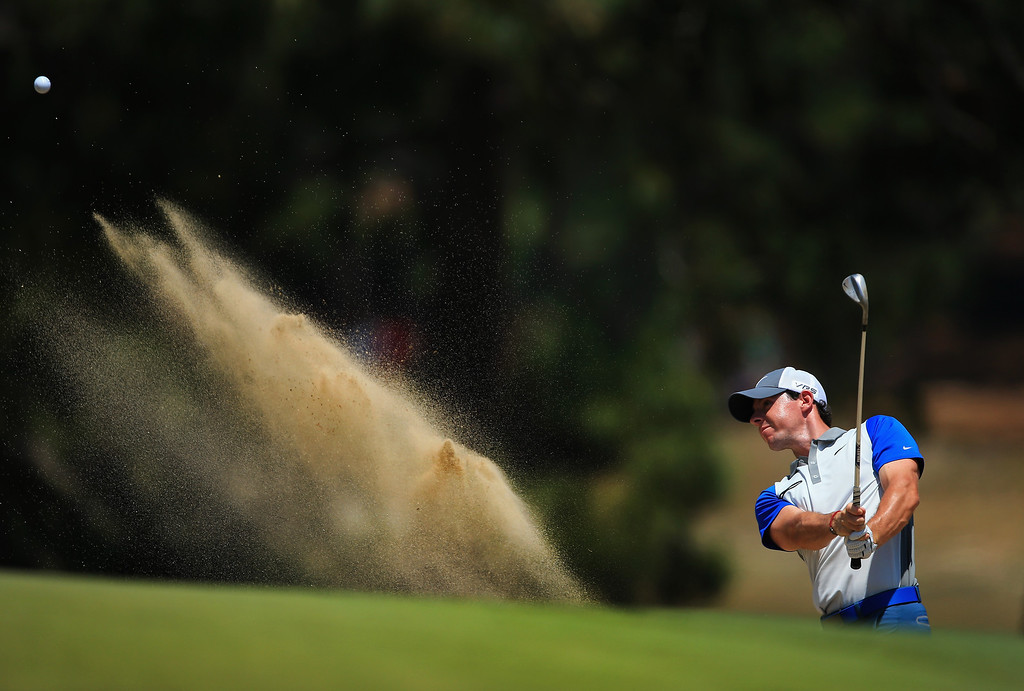 . PINEHURST, NC - JUNE 15: Rory McIlroy of Northern Ireland hits his second shot from a bunker on the third hole during the final round of the 114th U.S. Open at Pinehurst Resort & Country Club, Course No. 2 on June 15, 2014 in Pinehurst, North Carolina.  (Photo by David Cannon/Getty Images)