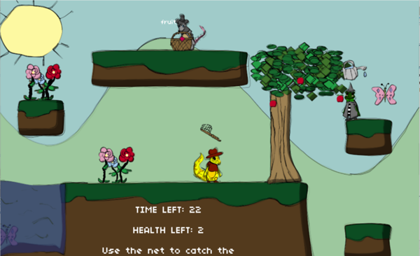 A screen shot from a video game created by New College students in a game Jam competition.