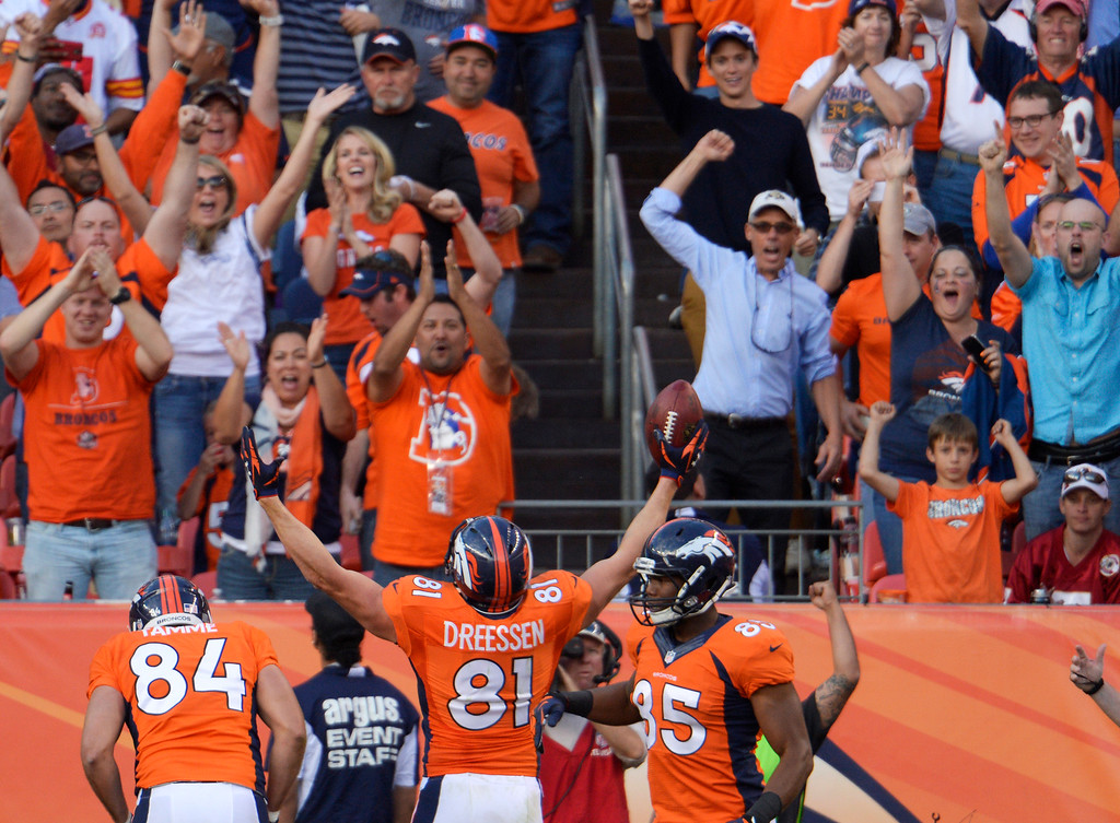 . Denver Broncos tight end Joel Dreessen (81) celebrates after scoring in the third quarter against the Washington Redskins.   (Photo by Joe Amon/The Denver Post)