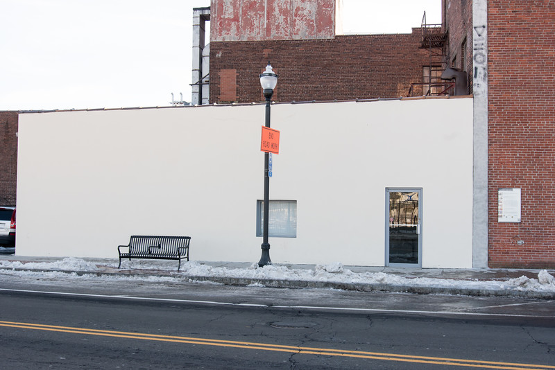 02/15/19  Wesley Bunnell | Staff  A white wall on the side of the Dakille Building on Columbus Blvd in New Britain which formerly featured a Sol LeWitt painting until being painted over in 2018.