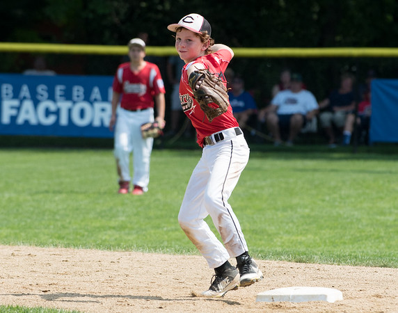 08/06/18 Wesley Bunnell   Staff Rhode Island defeated Vermont 10-0 in a 2018 East Regional Little League game in Bristol on Monday afternoon. Rhode Island short stop Tyler Simon (1) throws to first base for the out.