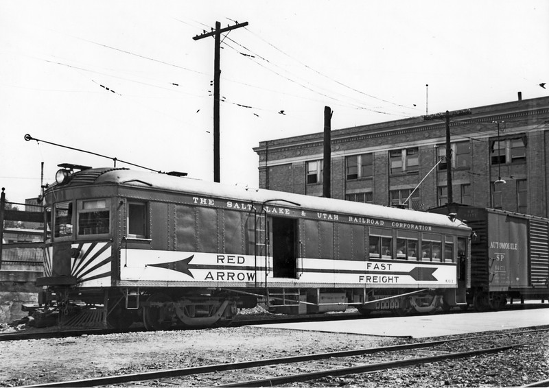 "Salt Lake & Utah Railroad's car 603, after its 1921 wreck repair. This was the only car to get the unique ""Red Arrow Fast Freight"" paint scheme."