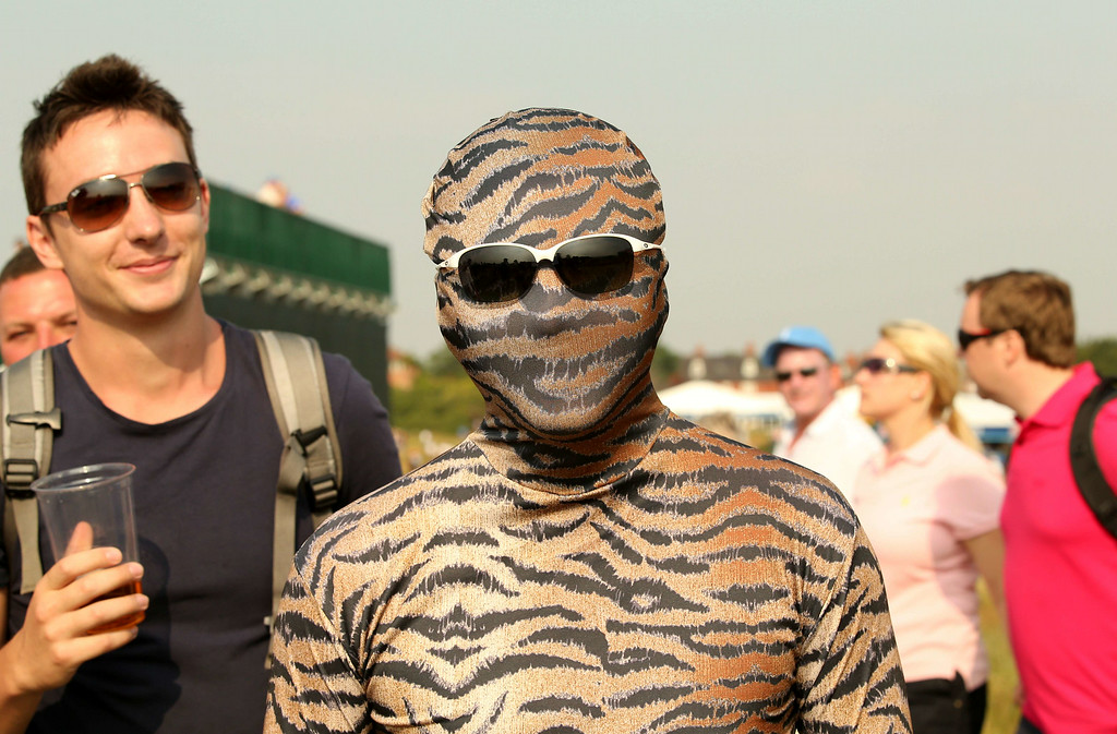 . Tiger Woods supporter in fancy dress on day two of the 2014 British Open Golf Championship at Royal Liverpool Golf Course in Hoylake, north west England on July 18, 2014. ANDREW YATES/AFP/Getty Images