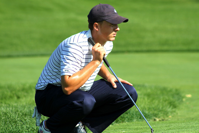 First round co-leader Jordan Spieth, 18, of Dallas, Texas, lines up a putt on the 13th green in Wednesday's second round.