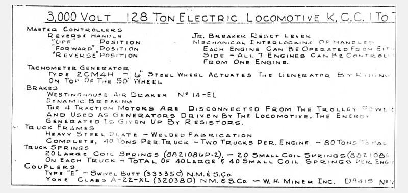 Kennecott Mainline Electrics, Data