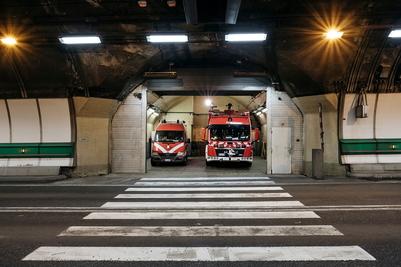 Firefighter station in the middle of the tunnel (18), Proteus fire truck on the right - Samuel Zeller for the New York Times