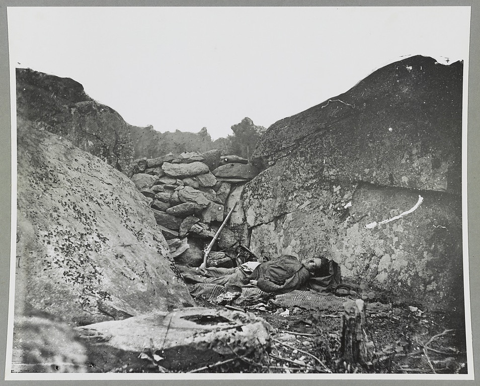 . Rocks could not save him at the battle of Gettysburg, Pa. July 1863. - Library of Congress Prints and Photographs Division Washington, D.C.