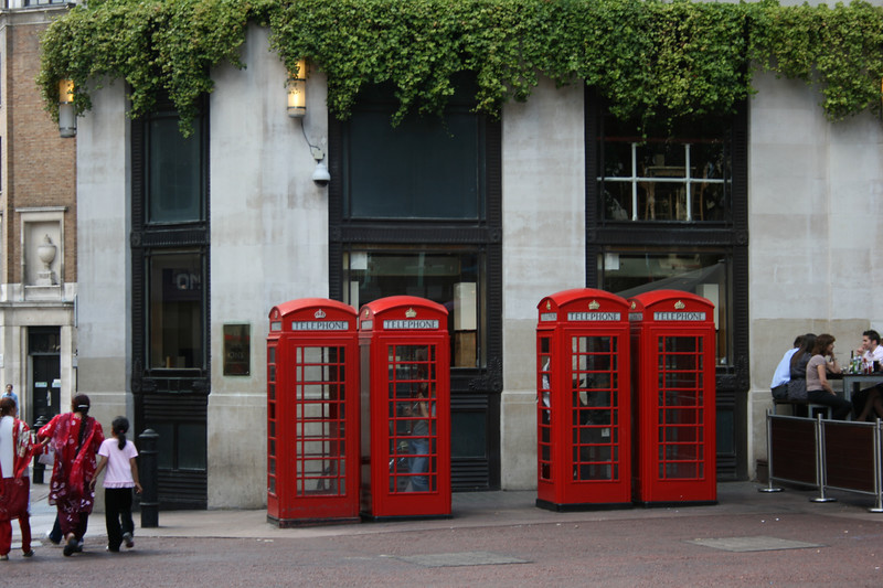 Classic London phone booths in Leicester Square.