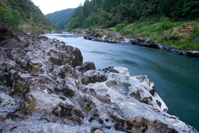 The view looking upriver into Kelsey Canyon from Kelsey Geology Camp.