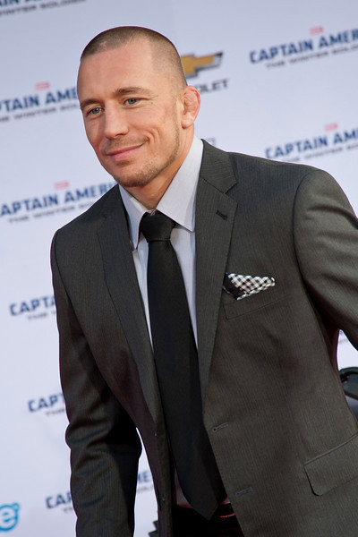 HOLLYWOOD, CA - MARCH 13: Martial artist Georges St-Pierre arrives at Marvel's 'Captain America: The Winter Soldier' premiere at the El Capitan Theatre onThursday,  March 13, 2014 in Hollywood, California. (Photo by Tom Sorensen/Moovieboy Pictures)