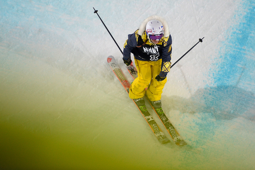 . Marie Martinod skis during the women\'s ski halfpipe final. X Games Aspen at Buttermilk on Friday, January 24, 2014. (Photo by AAron Ontiveroz/The Denver Post)