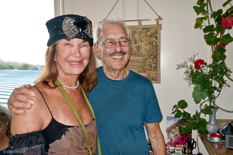 Sheila Ash and comedian Steve Bhaerman, comedian - Party of George Von Bozzay and Cheryl Haley at home in Belvedere, California
